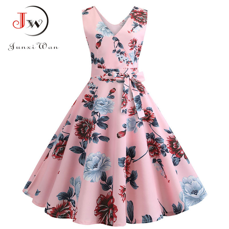 Sexy Retro Floral Print Dress 2020 Women Summer Vintage V Neck Party Dress 50s 60s Pin Up Rockabilly Dress Plus Size Robe Femme 4