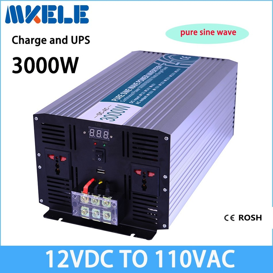MKP3000-121-C solar inverter 3000w 12v dc to 110v ac  inverter off grid Pure Sine Wave inversor with charger 3000w wind solar hybrid off grid inverter dc to ac 12v 24v 110v 220v 3kw pure sine wave inverter