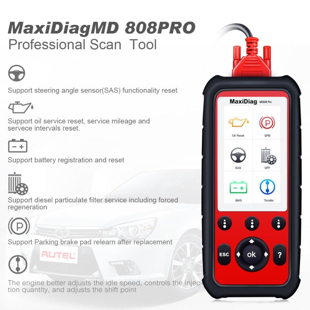 Autel MaxiDiag MD808Pro אבחון סורק כלי עבור מנוע, שידור, SRS, ABS מערכות עם EPB, שמן איפוס, DPF, SAS, BMS