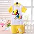 2016 New Children Baby Boys Clothes Character Pink T-shirts Set Summer Blue Undershirt Clothing Cotton Short T-Shirt +Pants Sets