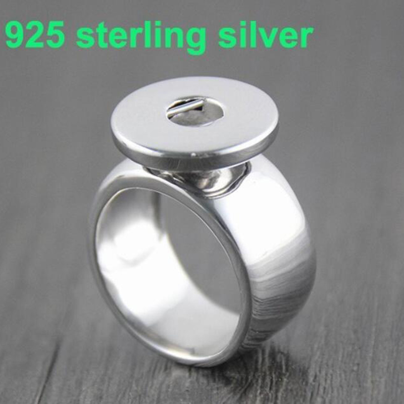 New fashion hot sales 925 Sterling Silver Snap Rings Ginger Buttons Snaps Ring Metal Snaps Rings for women Fit 18MM 20mm Snaps