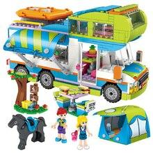 SLPF 534pcs Street View City Creative Blocks Compatible Legoings Friends Girl Camping Car DIY Figures Bricks Birthday Gifts F20