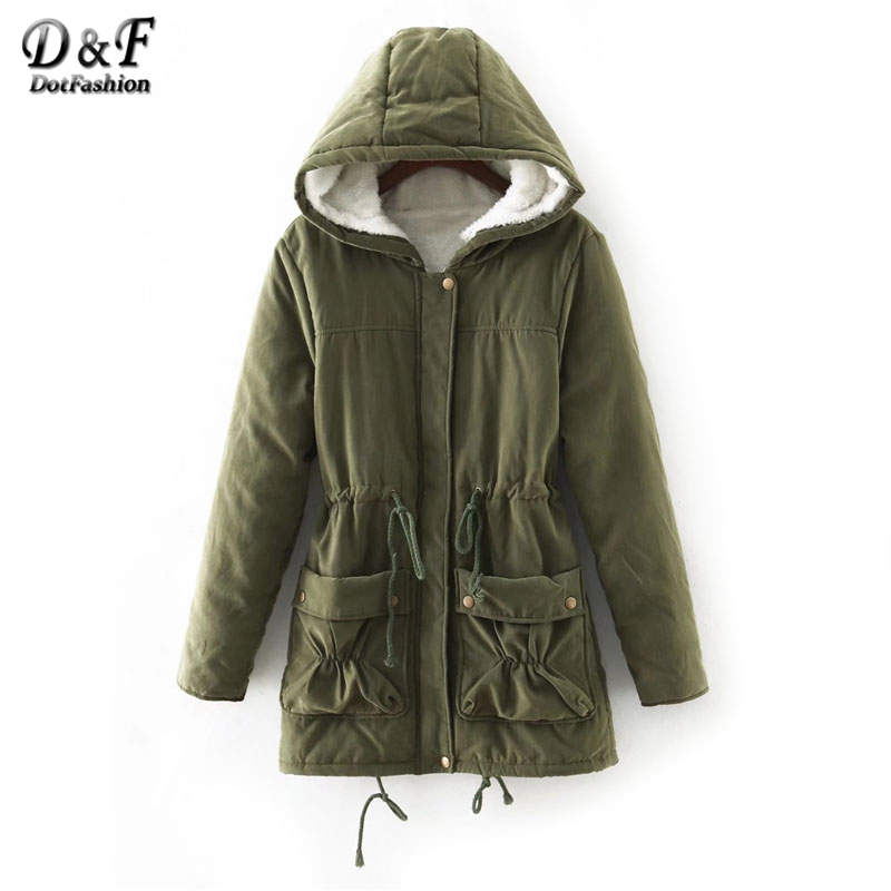 Dotfashion Fuzzy Lined Utility Parka Coat Hooded 2017 Women Green Long Sleeve Zipper Top Winter Drawstring Cotton Coat dotfashion faux fur hooded shearling lined coat 2017 grey zipper long sleeve top female single breasted knee length coat