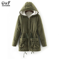 Dotfashion Fuzzy Lined Utility Parka Coat Hooded 2017 Women Green Long Sleeve Zipper Top Winter Drawstring Cotton Coat