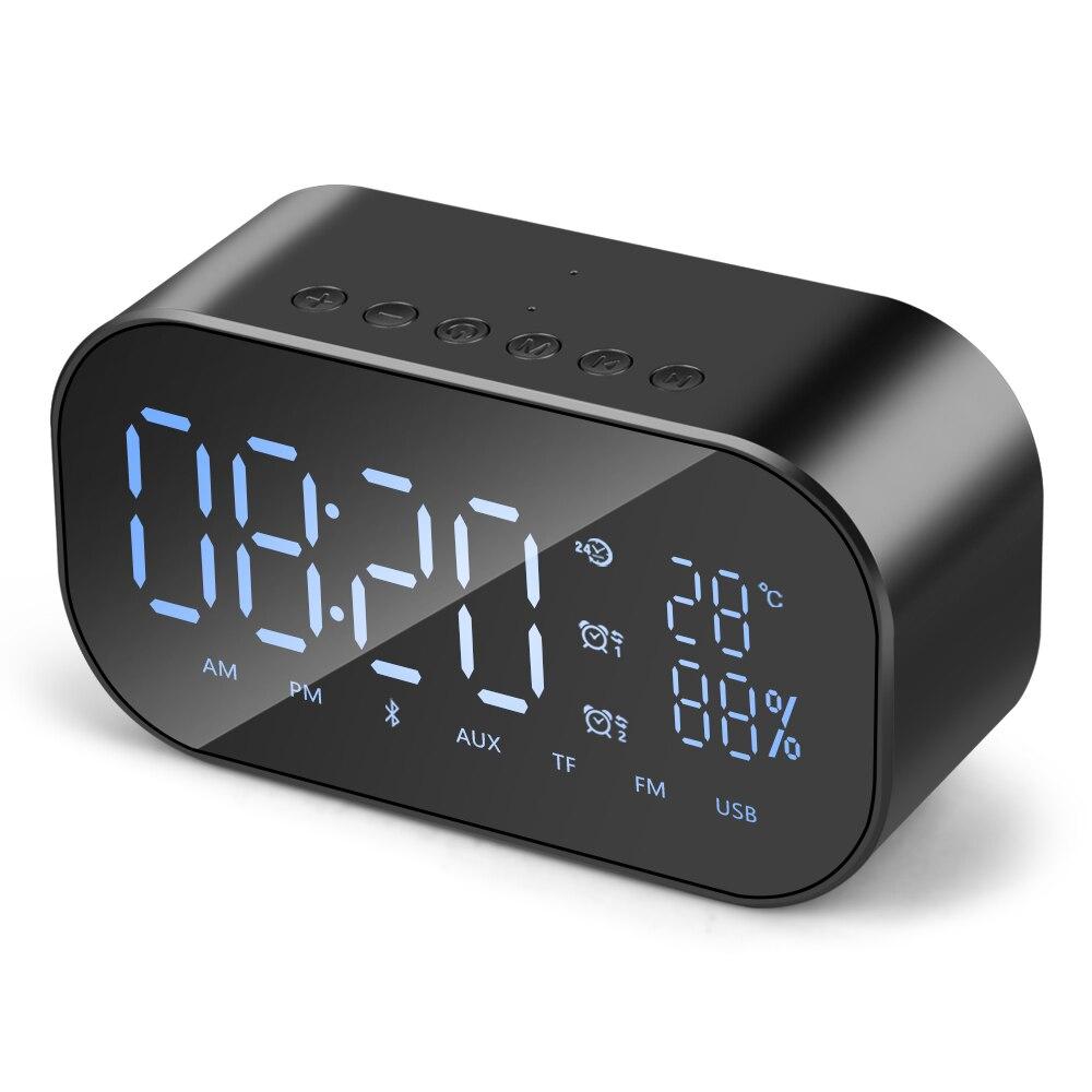 New Wireless Smart FV-S2 Clock Bluetooth Speaker Mirror TF Card Speaker Portable Audio Equipment Temperature Display USB FM LED