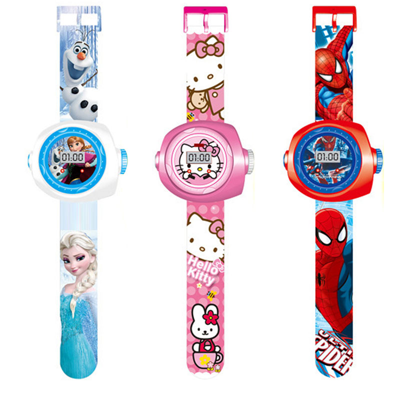 Kid Watches Spiderman Can The Projection Toys For  Boy Girl Children Watch