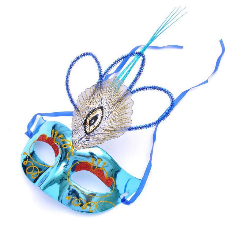 Maschera di piume di pavone di travestimento della mascherina mezza faccia per adulti bambini hole tail piuma maschera di Venezia mixs colori SME - 4