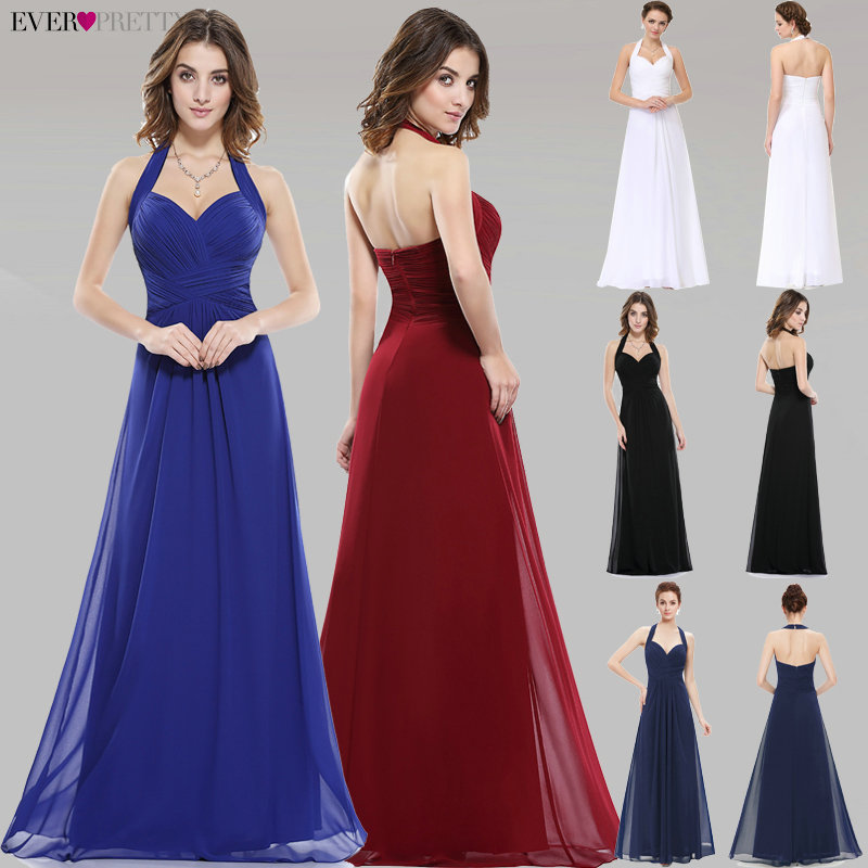 Sapphire Blue Prom Dress A Line Ever Pretty New Arrival Sexy Empire Halter Long Maxi EP08487 Sleeveless Long Prom Dresses 2019