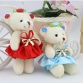 Hot sale children girls plush toys bear with dress flower bouquets material bear wholesale mini promotion gift  free shipping