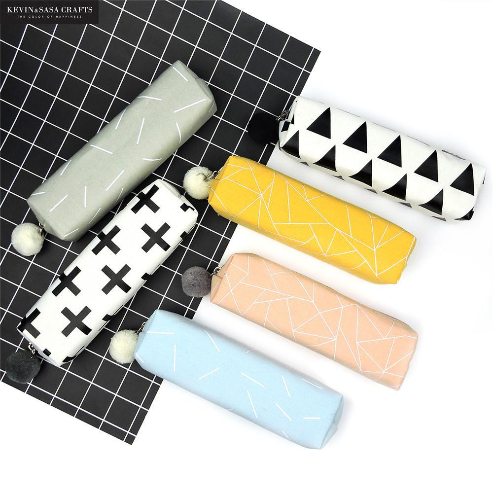 New Canvas Pencil Case For Girls and Boys School Supplies Bts Stationery Gift Cute Pencil Box Fabric Pencilcase School Tools new leather pencil case bag for school boys girls vintage pencil case box stationery products supplies as gift for student