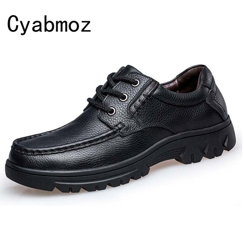 Cyabmoz Spring Autumn Men British Genuine Leather Shoes Oxfords Men Flats Platform Casual Shoes Formal Zapatos Hombre size 38-50