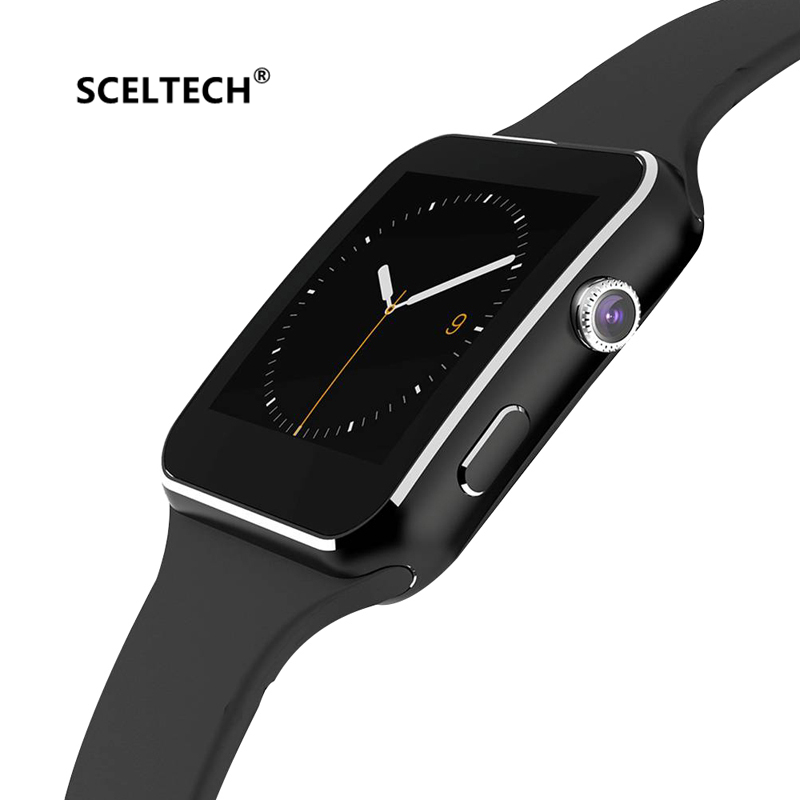 X6 SCELTECH Bluetooth Relógio Inteligente Homens relogio reloj Relojes SIM Card TF Dispositivo Wearable Smartwatch Para Android Telefone inteligente