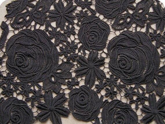 Tissu en dentelle noire rose classique motifs floraux grâce Design de mode évidé conception dame robe tissu fournitures