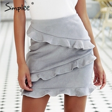 Simplee Ruffles trumpet skrit office lady Elegant grey high waist mini skrit Leather suede autumn winter women skrit 2018