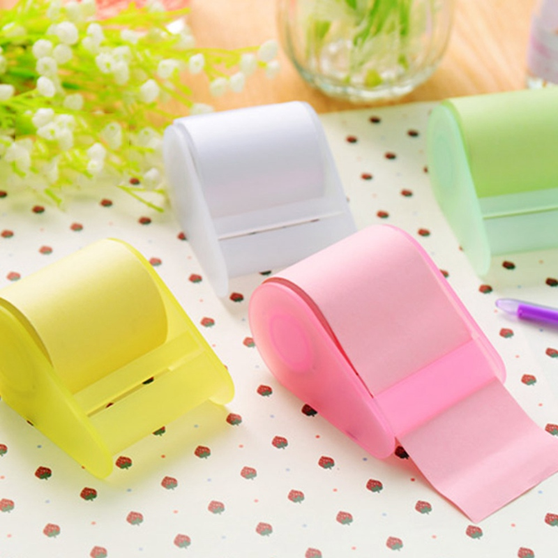 Candy Color Memo Pad With Tape Dispenser Cute Sticky Notes Bookmark Stationery Label Stickers School Supplie Notepad Escolar