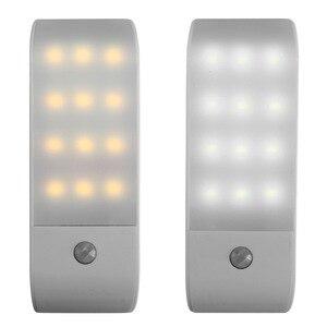 Image 3 - PIR אינפרא אדום Motion חיישן USB נטענת 12 LED מנורת לילה אור מסדרון אינדוקציה מלתחת לילה מנורת LED USB