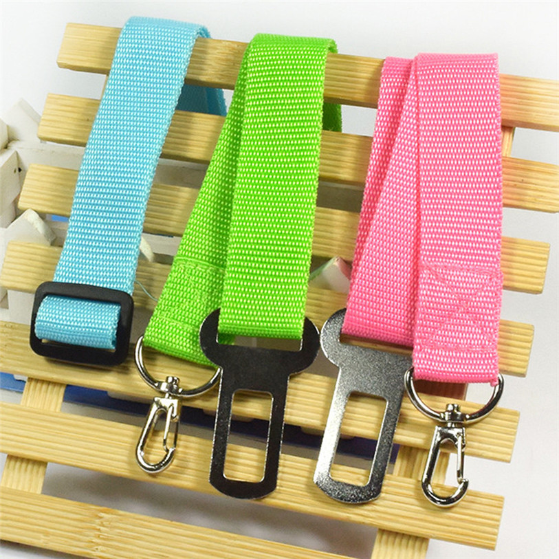 Candy Color Vehicle Car Seat Belt Seatbelt Harness Lead Clip Pet Cat Dog Safety Belts Nylon Solid Pet Dog Cat Puppies 40JA10 (6)