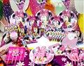 90 pcs / 2014 novo Minnie Mouse festa de luxo de decoração placas copos palhas guardanapos partido supplie B003