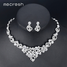 Mecresh Silver Color Heart Crystal Bridal Jewelry Sets Necklace Earrings Wedding Jewelry Accessories Christmas Gift TL310-pin
