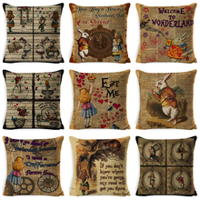 2019 Vintage Cushion Cover Illustration Rabbit Praiser in Newspaper Alice Wonderland Retro Home Decorative Pillow