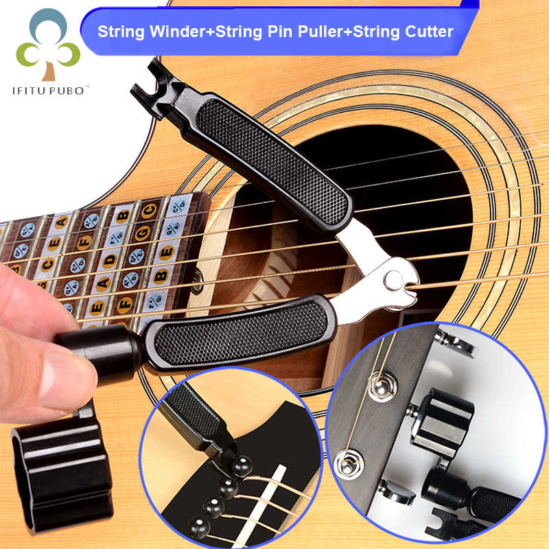 3 in 1 Guitar Peg String Winder + String Pin Puller + String Cutter Guitar Tool Set Multifunction Guitar Accessories GYH