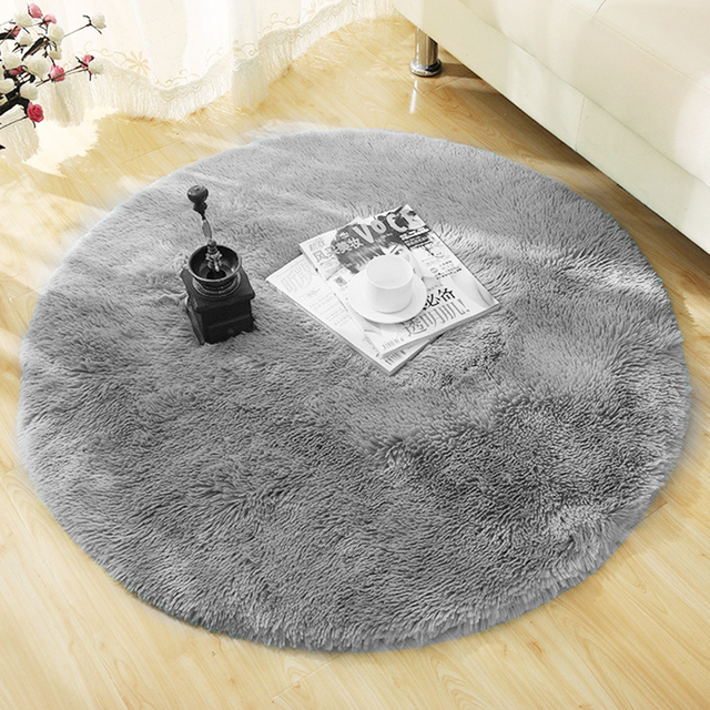 Fluffy Solid Color Round Living Room Carpet