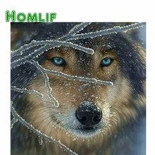 HOMLIF Piazza piena diamante 5d fai da te diamante pittura lupo nella neve ricamo Punto Croce Strass Mosaico Pittura decorazioni per la casa