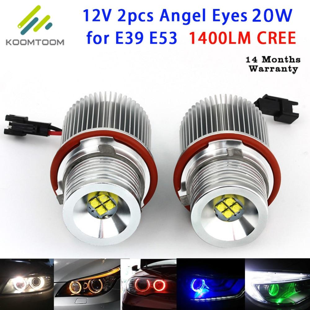 ФОТО LED Marker Angel Eyes Car Headlights for BMW Angel Eye 20W Color White Yellow Red Green Bule for E39 E53 E60 E61 E63 E64 E65 E87