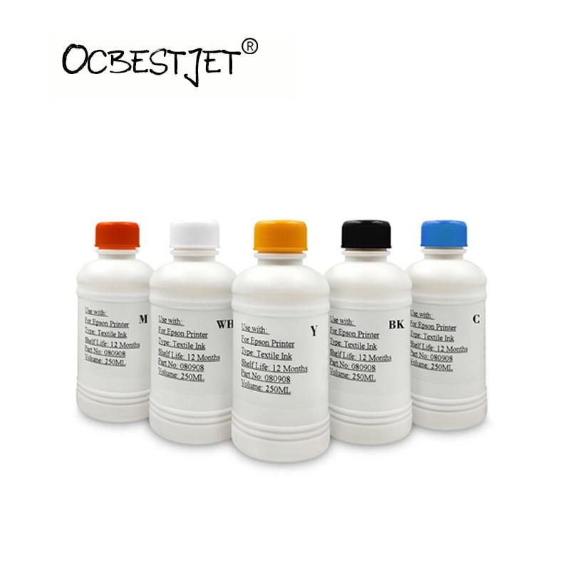 250 ml/Bottiglia di Inchiostro Digitale Tessile Per Epson Stylus T50 R290 4000 4800 7400 7600 7800 7880 9400 9600 9800 DX5 DX7 Stampante DTG Inchiostro