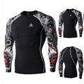 Novo 2016 Moda Masculina Digital Imprimir da Longo-luva Primavera E No Outono Masculino Básico de Fitness Roupas de Secagem Rápida T-camisa