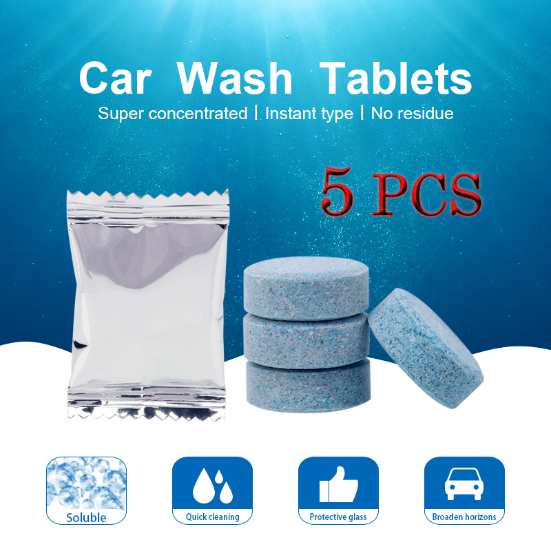 5pcs = 20L Water Car Windshield Glass Washer Cleaner Compact Effervescent Tablets Detergent Car Beauty Tool Car Accessaries