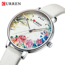 CURREN Silver Lady Watch Flower Simple Ultra-thin White Leather Belt Bracelet Quartz Fashion Wristwatch Reloj Mujer Girl Present curren unique lady watch flower ultra thin black pink leather belts bracelet quartz fashion wristwatch reloj mujer wife present