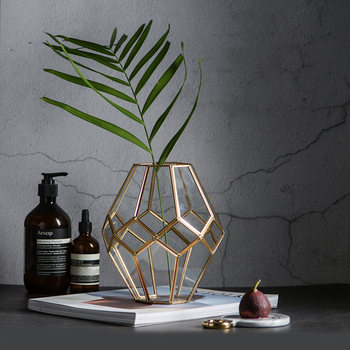 Nordic retro style golden glass vase copper strip geometric vase Dry decoration Crafts glass terrarium wedding home decoration