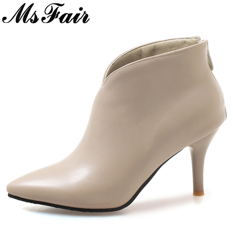 MsFair Women Boots Shoes Woman Fashion Metal Zipper Ankle Boots Women Shoes Elegant Short Plush Sexy Thin Heels Boots For Girl