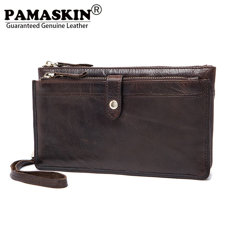 PAMASKIN Men Organizer Wallets with Hand Rope Luxurious Genuine Leather 2018 Double Compartments Zipper Long Clutch Purses Male long wallets for business men luxurious 100% cowhide genuine leather vintage fashion zipper men clutch purses 2017 new arrivals