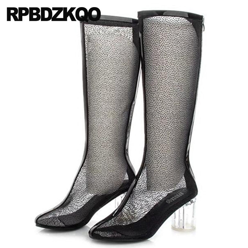designer shoes women luxury 2018 mesh clear summer long boots knee high ladies sandals black round toe heel chunky transparentdesigner shoes women luxury 2018 mesh clear summer long boots knee high ladies sandals black round toe heel chunky transparent