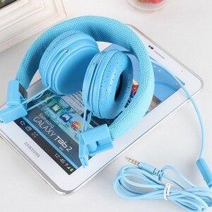 Image 3 - Складные наушники со встроенным микрофоном, детская гарнитура вкладыш, проводной шнур, стерео наушники из искусственной кожи для ipad, планшета, MP3