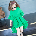 Girl Dress Kids Printing Toddler Girl Party Dress Lace 2016 Summer O-neck Girl Dresses Fashion Kids Clothes Girls 6105W