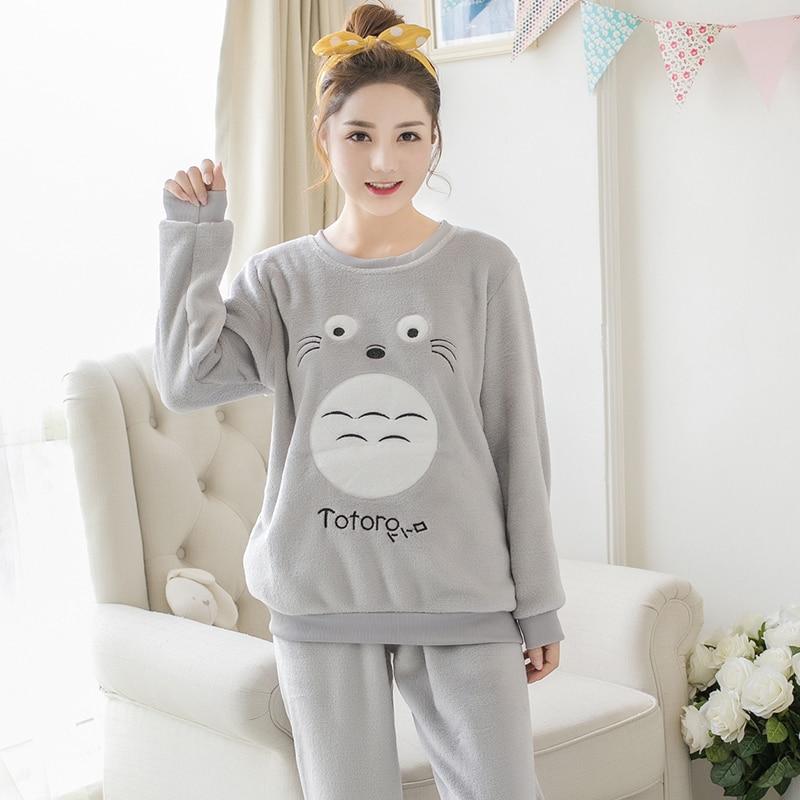 Thick Warm Flannel   Pajama     Sets   for Women 2018 Winter Long Sleeve Coral Velvet Pyjama Girls Cute Cartoon Totoro Homewear Clothing