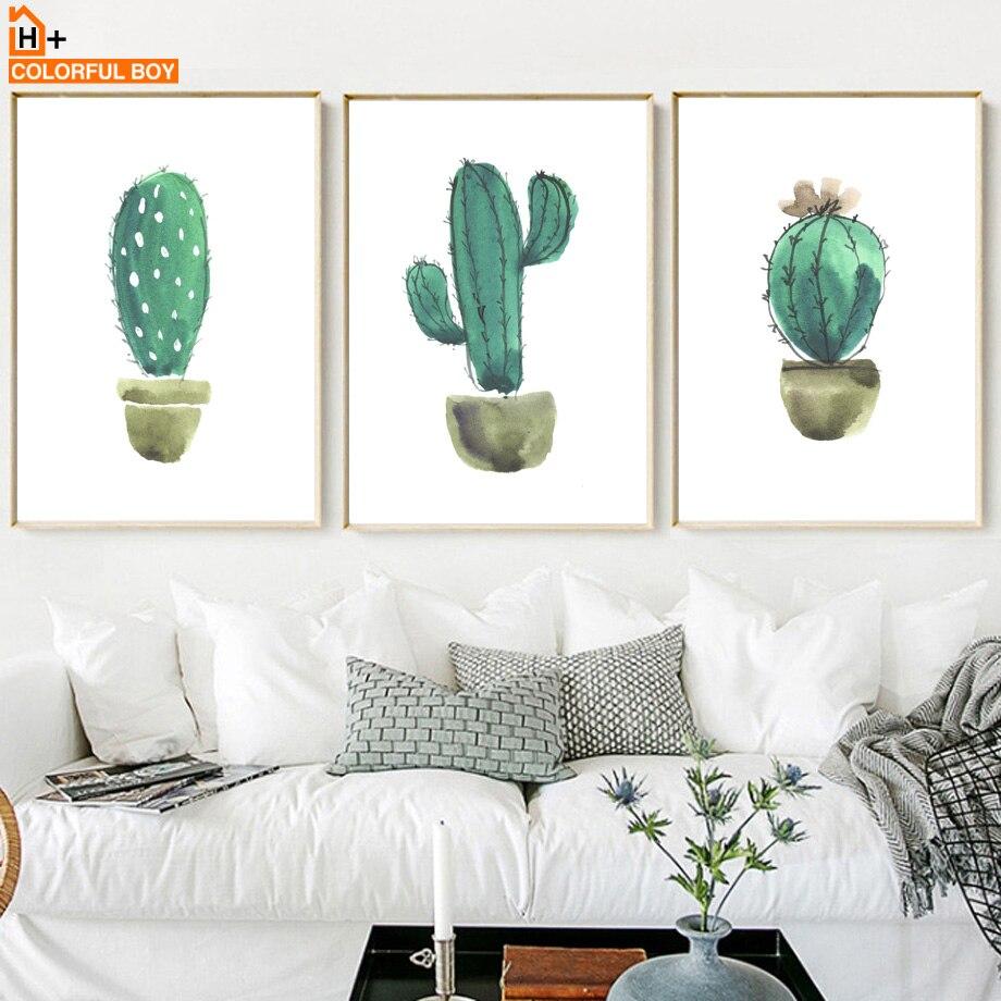 Rəngli Kaktus Divar İncəsənəti Çap Kətan Boyalı akvarel - Ev dekoru - Fotoqrafiya 2