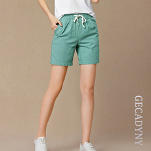 New 2017 Summer shorts women high waist Fashion Pleated Loose solid cotton linen feminino short for women candy color shortsXXXL