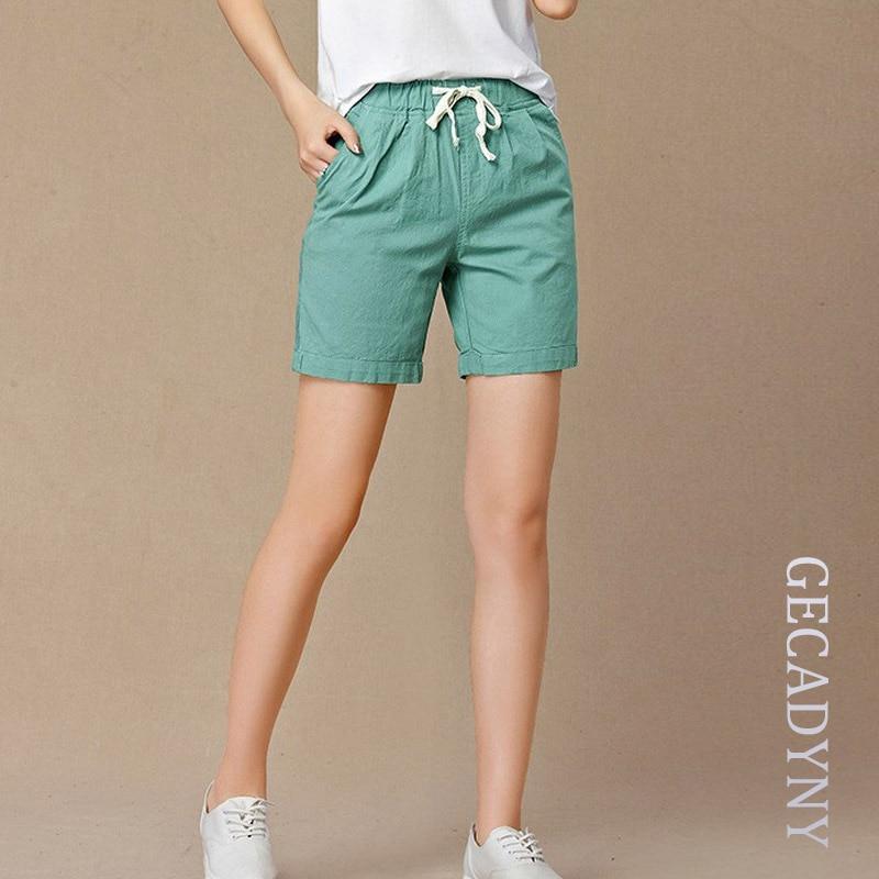 New 2018 Summer shorts women high waist Fashion Pleated Loose solid cotton linen feminino short for