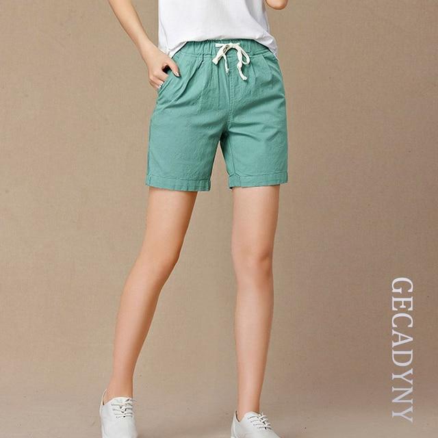 bb4ee07c5b0 New 2018 Summer shorts women high waist Fashion Pleated Loose solid cotton  linen feminino short for women candy color shortsXXXL