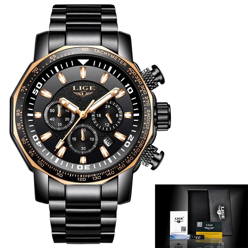 Montres hommes Relogio Masculino LIGE montre de sport militaire étanche de luxe pour hommes en acier inoxydable horloge à Quartz pour hommes