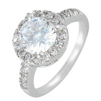 BELLA Fashion Silver Plated Bridal Ring Round Cubic Zircon Finger Ring For Wedding Women Accessory Party