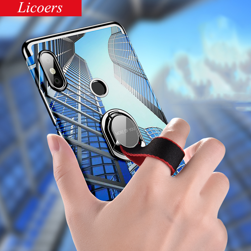 for Xiaomi Redmi Note 5 Pro Mi 6X Case Plating Transparent Soft Cover Removeable Finger Ring Cases for Xiaomi Redmi Note 5Pro 6X