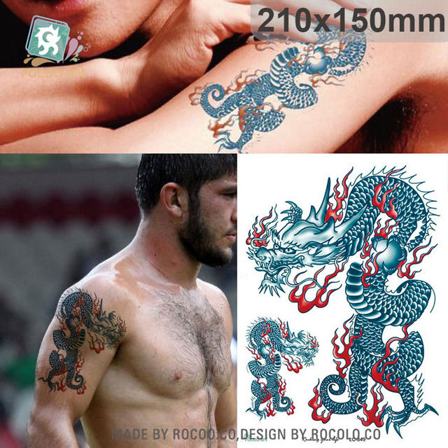 LC-849/Latest Cool Men's Temporary Body Tattoo Stickers Chinese Blue Dragon Totem Tattoo Designs For Male