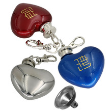 лучшая цена 10 Pcs / Lot Portable Mini Heart-shaped Bottle Key Chain alcohol flasks with funnel 1 oz Heart Stainless Steel honest hip flask