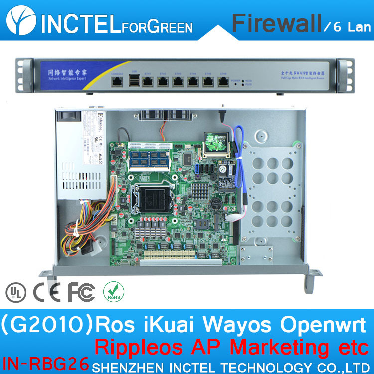 ROS 6 Gigabit flow control mikrotik rb433ah with G2010 cpu 1000M 6 82574l model number IN-RBG26 network routers with 6 intel pci e 1000m 82574l gigabit lan intel dual core i3 3220 3240 3 3ghz with mikrotik ros 2g ram 32g ssd