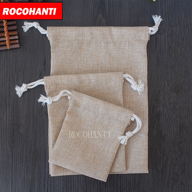50x Imitation Yellow linen sack custom drawstring tea bag gift packaging bag rice bag customized logo printed